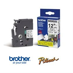 Brother TZS131 Tape - Ekstra klæbende - Sort tekst, Klar tape. 12 mm