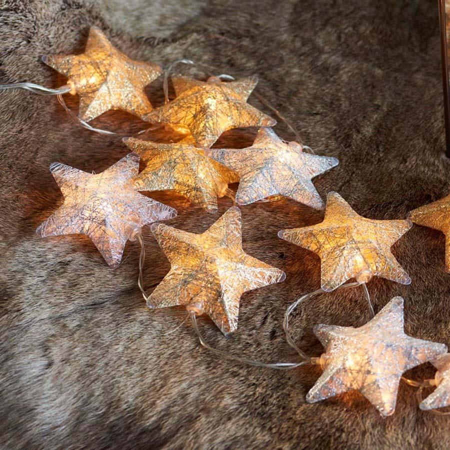 Sirius - Bolette LED lyskæde med 20 stjerner. Guld/Sølv