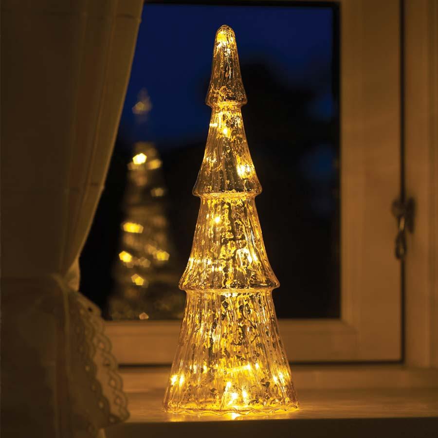 Fie Glas Træ med 15 sølvfarvede LED