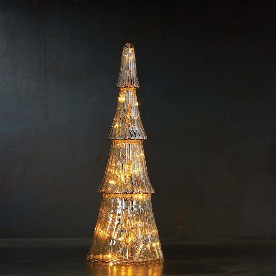 Fie Glas Træ med 8 sølvfarvede LED - til batteri